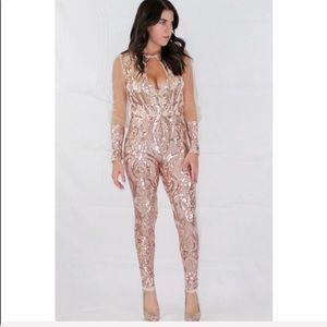 Dresses & Skirts - Rose gold long sleeve sequence jumpsuit